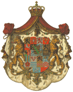 Герб на Сакс-Кобург и Гота, потомци на династия Ветини, властвали във Белгия, Великобритания, Саксония, Португалия и др.